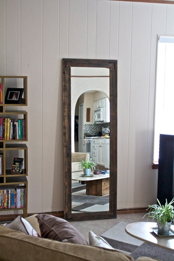 "Floor Mirror - Wardrobe Mirror - Reclaimed Wood Mirror - 24"" x 66"" Large Wall Mirror - Rustic Modern Home - Hurd and Honey"