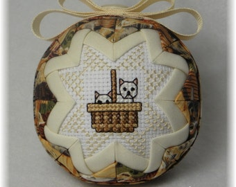 Quilted Ornament - Cat Ornament - Friends Fur-ever / White Cats