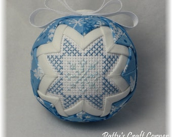 Quilted Keepsake Ornament - Snowflake /  Let It Snow