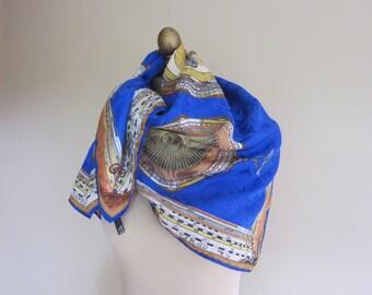 HOROSCOPE silk scarf ZODIAC Italian silk scarf, large silk scarf , Carre, large square scarf, vintage scarves, electric blue silk,