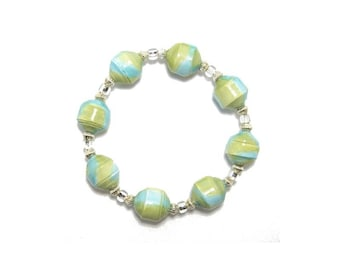 Bracelet, Paper Bead Bracelet, Blue and Green, Clear Czech Glass Beads, Watercolor Beads, Hand Painted Beads, Beads, Free Shipping