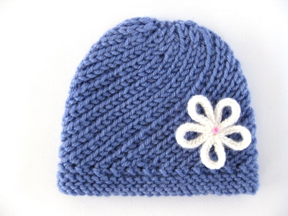 Double Knitting In The Round Video : Preemie pattern spiral hat beanie knit flower prem girl