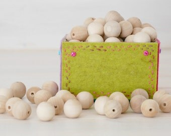 """100 Round Wood Beads - 20MM Wooden Balls (3/4"""") - Unfinished Wooden Beads - DIY Wood Crafts"""