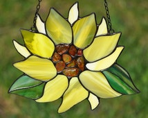 Amber decorated sunflower suncatcher - Tiffany glass sunflower decorated with natural Baltic amber. Mothers day gift. Vitrail