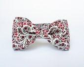 Bow Tie by BartekDesign: pre tied flowers boho red gray women men unisex groom wedding classic retro necktie chic handmade gift for him