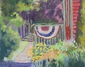"Original Art, Original Landscape, Original Painting, American flag, summer flowers, front porch - ""Cascading Colors"" by Colette Savage"