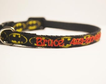 "Personalized Cat Collar / Mini Dog Collar / Batman / Made to order / 3/8"" wide"