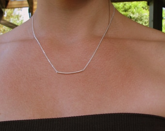 Silver Curved Bar Necklace, Silver Bar Necklace Thin Bar Chain Necklace, Bridesmaid Jewelry, Delicate Bar Choker, Small Bar Everyday Jewelry