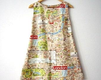 London Map Dress, Mini Dress, Map Dress, Printed A line Cotton Mini Dress, Made to Order