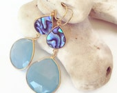Abalone and Chalcedony Stone Earrings, shell earrings, abalone earrings, beach jewelry, beach earrings, resort jewelry, resort earrings