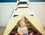 The Archi teepee: Navy and white stripes, yellow with white anchor accent