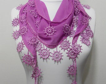 Lilac Mauve Scarf Shawl Rubber Edge Cowl Scarf Lightweight Scarf Women Holiday Fashion Accessories Christmas Gift Ideas For Her