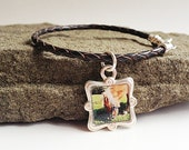 Leather Photo Bracelet Custom.  Pet memorial, horse, dog  Brown Leather charm bracelet, STERLING SILVER, pet memorial