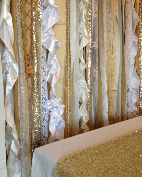 Gold Sequin Wedding Garland Backdrop With Ivory White Fabric