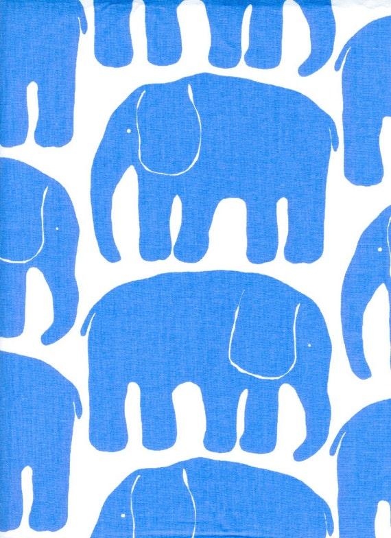 Fabric white blue retro elephants cotton fabric kids fabric for Childrens elephant fabric