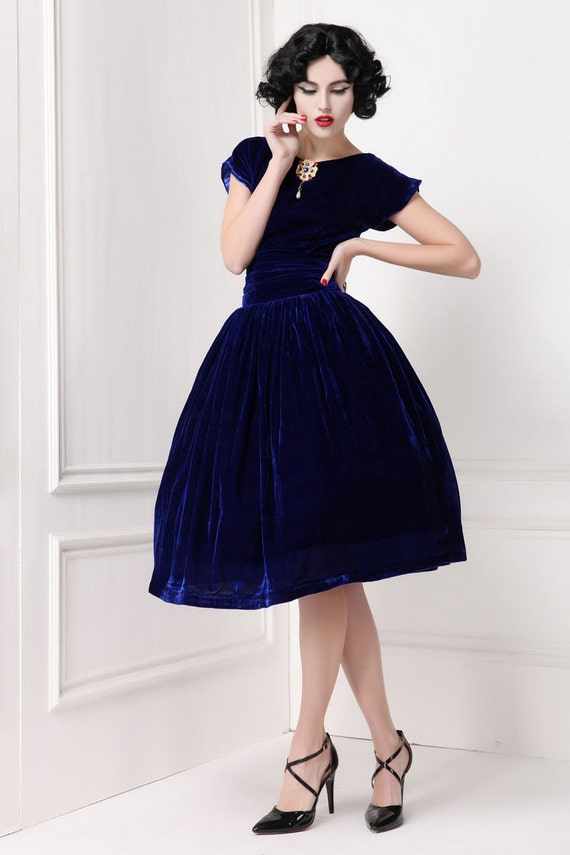 Vintage Inspired Sapphire Blue Velvet Dress with by ...