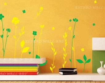 "Removable wall Stickers ""Long Stem Flowers"", flower wall Decals , Nursery wall decal, home decor"
