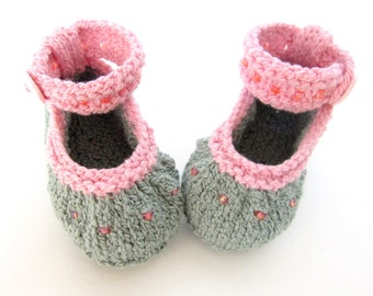 Hand Knit Baby Booties / Infant Girl Shoes - Beaded Moss Green Ankle Strap Flats - Made to Order