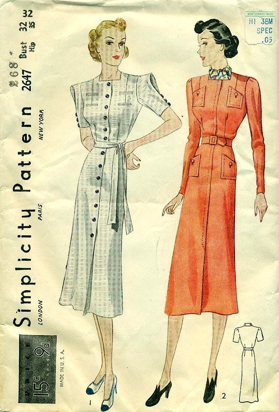SIMPLICITY 2647 - 1930s Frocks, One with Short Looped Sleeves - FACTORY FOLDS