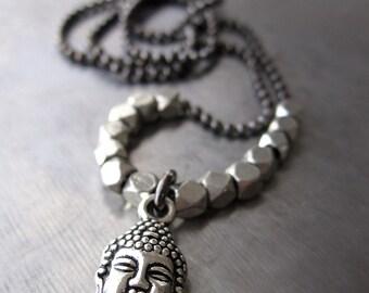 Silver Buddha Necklace, Small Silver Buddha Charm, Yoga Jewelry, Enlightened Path Spiritual Jewelry, Hindu Buddhist Jewelry