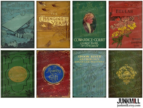 Children S Book Covers To Print ~ Bookshelf digital printable collage sheet victorian by