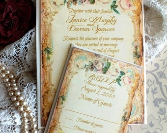 CUSTOM ORDER For elizabeth motich...Vintage Romantic Roses Wedding Invitation Handmade by avintageobsession on etsy