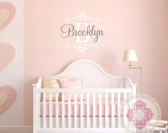 Large Baby Initial and Name Wall Decal with Elegant Shabby Chic Frame Accents and Polka Dots - Nursery Girl Vinyl Monogram FN0509