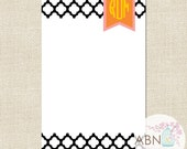 Personalized NOTEPAD - Quatrafoil Collection - Monogram Notepad - Black, Pink and Orange