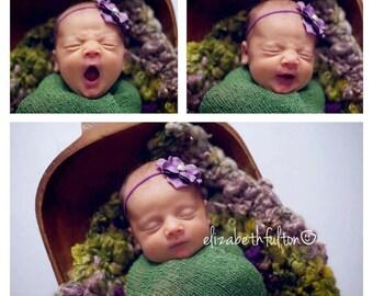 Purple Newborn Headband, Classic & Simple Baby Headband, Purple Flower Headband, Newborn Baby Girl Photo Prop, Blossom Flower Headband