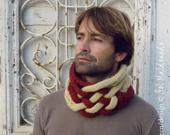 Cowl pattern knitting PDF - men cowl scarf - Instant Download
