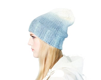 Ombre Indigo Knit Hat, dip dyed and hand knit wool beanie, hand-dyed knitted toque