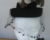Vintage 1940s Beautiful Feather Plume Hat  in Black Wool Felt, Netting / 40s Hat by Stern Brothers, A New York Creation