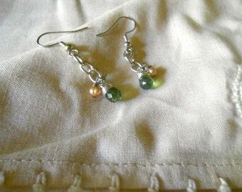 Dangle Earrings Green Apatite Tear Drops Briolettes Peach Fresh Water Pearls Gift under 30