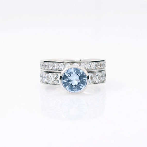 Engagement Ring Set Aquamarine White Sapphire Engagement