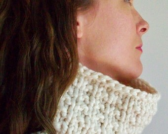 White Chunky Knit Cowl Scarf Modern