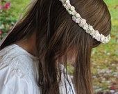 Pink, Floral Crown for Flower Girl. Bridal Hairpiece for Teens to Young Adults. Handmade Lilac Rosette Flower Crown..