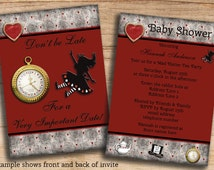 Printable Alice In Wonderland Baby Shower Invites DIY Double Sided Custom Digital Image JPEG or PDF Invitation Personalized Templates