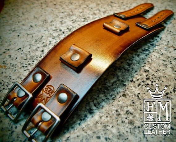 Leather cuff Bracelet watchband Vintage Johnny Depp style wristband Custom Made for YOU in NYC by Freddie Matara!