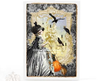 Halloween card, Halloween witch, Marie Antoinette, crows, chandelier, black, gold, pumpkin, black cat, broomstick, Gothic holiday card