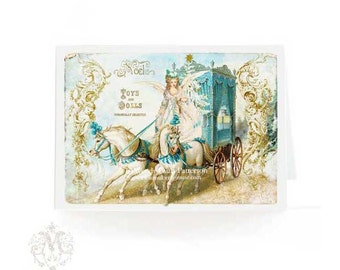Marie Antoinette, Christmas card, horse and carriage, fairy, angel, toys and dolls, French vintage style, blue, gold, white horses