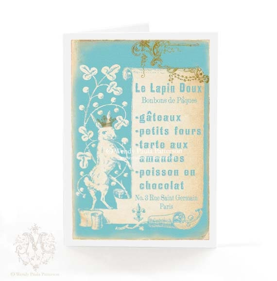 Rabbit Easter card, French patisserie menu, vintage Easter bunny silhouette on blue, blank inside