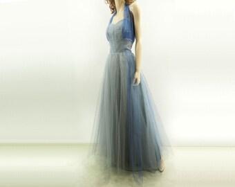 50s Prom Dress, Blue Prom Dress, 1950s Tulle Dress, 50s Formal Dress, Full Skirt, Powder Blue Dress, Glacier Blue Dress, 50s Formal Gown / m