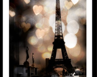 Paris Photography, Eiffel Tower Sparkle Lights, Eiffel Tower Hearts Lights, Eiffel Tower Sepia Fantasy Hearts, Paris Fine Art Photography