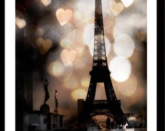 Paris Photography, Eiffel Tower Sparkle Lights, Eiffel Tower Hearts Lights, Eiffel Tower Sepia Fantasy Hearts, Paris Fine Art Photography