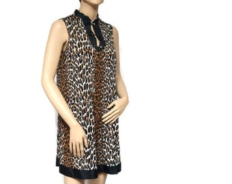 Vanity Fair Vintage Nightgown Leopard Print Animal Print Wild Thing African Lingerie Lounger Size Extra Small