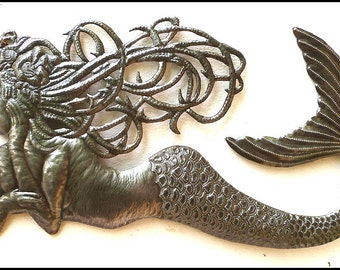 "Haitian Metal Art, Mermaid Wall Hanging, Metal Art, Recycle Steel Drum Art, Metal Wall Art, Metal Wall Decor - 23"" x 34"" - 359-34"
