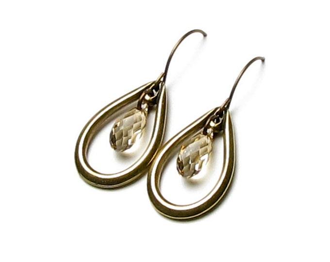 Swarovski Crystal Golden Shadow Beige Briolette Antique Brass French Hoop Open Teardrop Earrings Neutral Fall Fashion Colors Gifts For Women