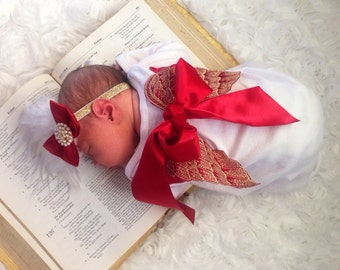 Newborn Christmas Lace Angel Wing Layette gown Coming home outfit