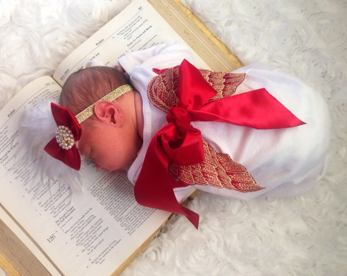 Newborn Valentine Lace Angel Wing Layette gown Coming home outfit