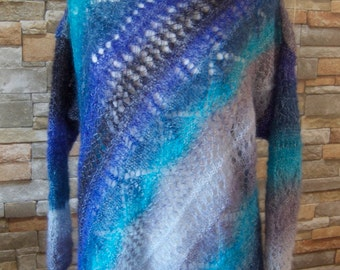 Hand knitted cardigan-sweater, blue sweater, hand knit blue sweater, mohair blue sweater, made in Canada